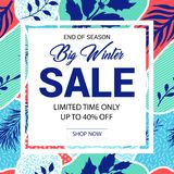 Winter sale banner in Memphis style stock photos