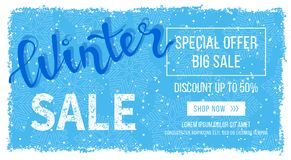 Winter sale banner, poster, flyer template in frame with blue snowflakes background, Snow frame. Special seasonal offer. Big Sale. Hand lettering inscription Stock Photos