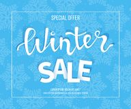 Winter sale banner, poster, flyer template in frame with blue snowflakes background. Special seasonal offer. Big Sale. Hand letter. Ing inscription. Vector Stock Photo