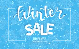 Winter sale banner, poster, flyer template in frame with blue snowflakes background. Special seasonal offer. Big Sale. Hand lettering inscription. Vector Stock Image