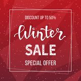 Winter sale banner, poster, flyer template in frame on geometric background. Special seasonal offer. Big Sale. Hand lettering inscription. Vector illustration Royalty Free Stock Image