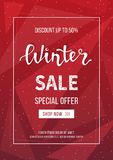Winter sale banner, poster, flyer template in frame on geometric background. Special seasonal offer. Big Sale. Hand lettering. Inscription. Vector vertical Royalty Free Stock Image
