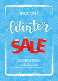 Winter sale banner, poster, flyer template in the frame of snow on blue snowflakes background. Special seasonal offer. Hand lettering inscription. Vector Royalty Free Stock Photography