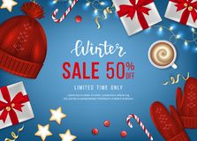 Winter sale banner, poster, flyer template with realistic gift boxes, hat, mittens, garlands, sweets, coffe on a blue background. Discount seasonal offer Royalty Free Stock Images