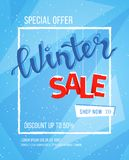 Winter sale banner, poster, flyer template in snow frame with snowflakes background. Special seasonal offer. Big Sale. Hand letter. Ing inscription. Vector Stock Images