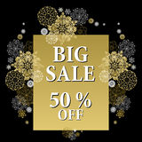 Winter sale banner printable card template with golden snowflakes design. Stock Image