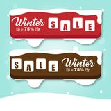 Winter SALE Banner Red and Brown Vector Image Royalty Free Stock Photo