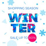 Winter sale banner seasonal holiday shopping discount promo vector offer. Winter sale shopping discount promo poster or shop special offer banner. Vector blue Stock Images