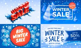 Winter sale banner set, isometric style stock illustration