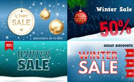 Winter sale banner set, realistic style vector illustration