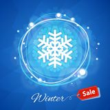 Winter Sale Banner with Snowflake on Blue Royalty Free Stock Photography