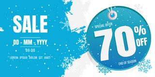Winter sale banner template design. snow flake. Ice Crystals. se. Ason. Blue floor. discount 70 Stock Photography