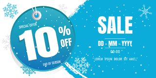 Winter sale banner template design. snow flake. Ice Crystals. se Royalty Free Stock Photo