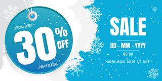 Winter sale banner template design. snow flake. Ice Crystals. se. Ason. Blue floor. discount 30 Stock Photos