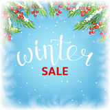 Winter sale banner template. Seasonal discount background for business design. Vector illustration with lettering and snow. Realistic fir-tree branches and ice Royalty Free Stock Photos