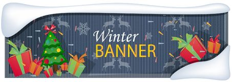 Winter sale banner with trees and gift. Vector illustration Stock Image