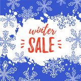 Winter Sale Banner. Vector Background With Snowflakes, Paint Royalty Free Stock Photo