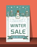 Winter Sale banner Vector illustration. Card Christmas sale discounts. Festive advertising banner with fun New Year characters and symbols.Winter Sale banner Stock Image