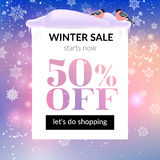Winter sale banner. Vector illustration with snowflakes and bullfinches. EPS 10 royalty free illustration