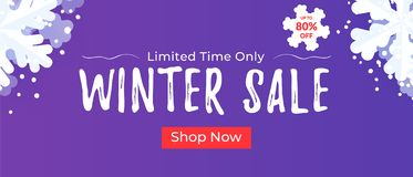 Winter sale banner for websites and mailing. Seasonal discount background with snowflakes. Winter sale banner for websites and mailing. Seasonal discount royalty free illustration