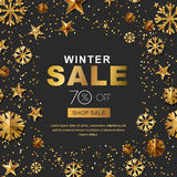 Winter sale banners with 3d gold stars and snowflakes. Vector winter holidays poster black background. Stock Photo