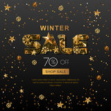 Winter sale banners with 3d gold stars and snowflakes. Vector winter holidays poster, golden black background. Royalty Free Stock Photos
