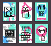 Winter sale banners for web and print. Poster, Card, Flyer, Banner Design. Vector Illustration. Royalty Free Stock Photography