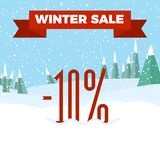 Winter Sale - Beautiful Forest, Winter Landscape, Flat, New Year, Vector Illustration. Winter Sale Badge - Beautiful Forest, Winter Landscape, Flat, New Year vector illustration