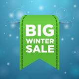 Winter sale big green ticket Royalty Free Stock Photography
