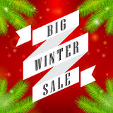 Winter sale big ribbon on red background Royalty Free Stock Image