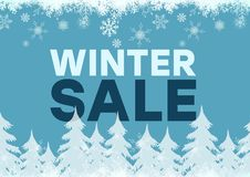 Winter Sale Blue Background And White Firs, Snowflakes Royalty Free Stock Photography