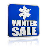 Winter sale blue banner with snowflake symbol Stock Photos