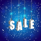 Winter sale blue banner with white hanging letters Stock Photo