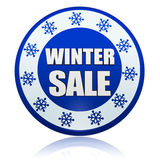 Winter sale blue circle banner with snowflakes symbol Royalty Free Stock Image