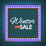 Winter sale with blue lights Stock Image