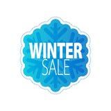 Winter sale blue snowflake sticker. Stock Photography