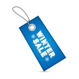 Winter Sale Blue Tag, Label. With String  on White Background Stock Images