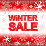Winter Sale on the bright red Background with Snowflakes. Royalty Free Stock Photography