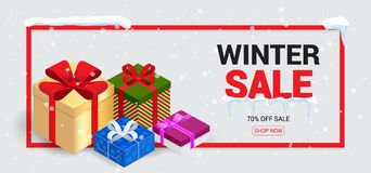 Winter sale card or banner. Discount offer price label, symbol for advertising campaign in retail, sale promo marketing Royalty Free Stock Photos