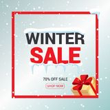 Winter sale card or banner. Discount offer price label, symbol for advertising campaign in retail, sale promo marketing Royalty Free Stock Image
