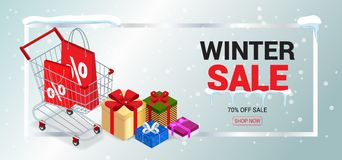 Winter sale card or banner. Discount offer price label, symbol for advertising campaign in retail, sale promo marketing Stock Images