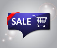 Winter sale card with cart sign Royalty Free Stock Image