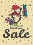 Winter sale card with hand drawn Owl with gift shopping Stock Photography