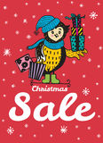 Winter sale card with hand drawn Owl with gift shopping Royalty Free Stock Photo