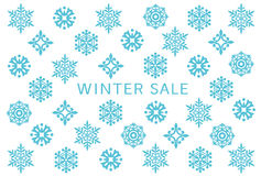 Winter sale card with snow crystals. Stock Photos