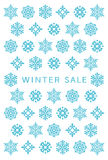 Winter sale card with snow crystals. Royalty Free Stock Image