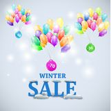 Winter sale with colorful ballons Royalty Free Stock Photos