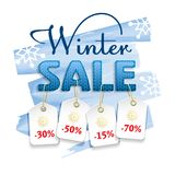 Winter Sale. Colorful banner with blue knitted font, price tags and sales text. Winter Sale. Colorful banner with blue knitted font, price tags and sales text stock illustration