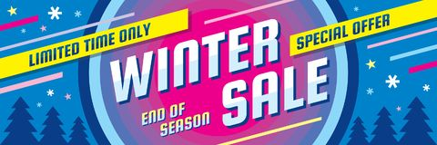 Winter sale - concept horizontal banner vector illustration. Abstract creative discount layout. Special offer. Graphic design. Royalty Free Stock Photos