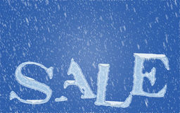 Winter sale. Concept with ice letters and snowfall Stock Photo
